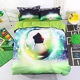 Beddinginn 3d Flash Football Duvet Covers Set Soccer Bedding Sets 1 Duvet Cover+2 Pillowcase+1 Flat Sheet (Queen Size 88''x90'')