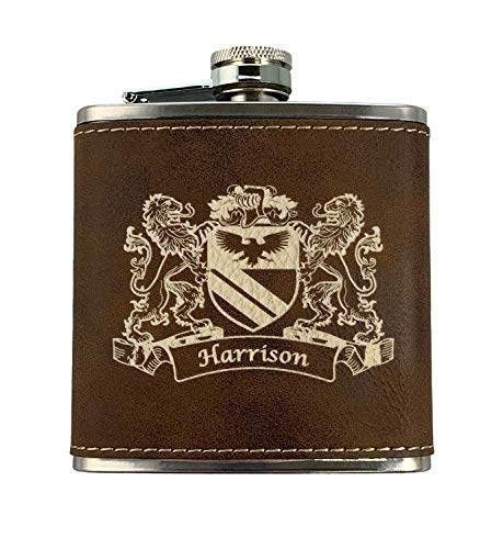 Harrison Irish Coat of Arms Leather Flask - Rustic Brown