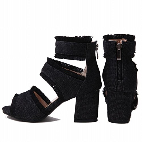 Schwarz Zip Charm Sommerstiefel Damen Blockabsatz Mee Shoes AtqwxEgOY