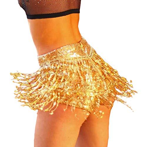 Yiiquanan Jupe-Short de Performance pour Femmes D't Mini Jupe en Sequin de Fte Costume de Club Or