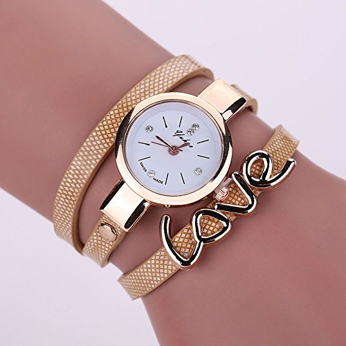 NEW Mens watches,Fashion Women Watch Fashion, Leather Crystal Bracelet Ladies Quartz Analog Wrist Watch HOT, The precise surface decent watch is very charming for all occasions (Shipping faster than the time specified.) BEIGE - Casio G Shock Aviator
