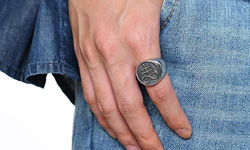 XUANPAI Unisex Leviathan Cross Satanic Ring Brimstone Occult Symbol Signet  Band,Size 9