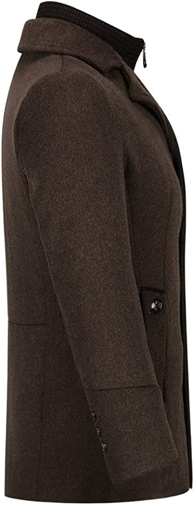 YOUTHUP Mens Coats Casual Winter Wool Jackets Regular Fit Trench Coat Tweed Outerwear Peacoats Coffee