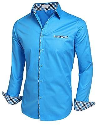 Misakia Men's Fashion Slim Fit Dress Shirt Casual Shirt
