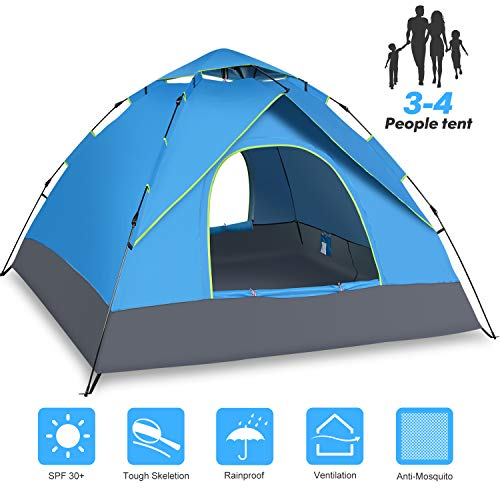 Amagoing Tent, 3-4 Person Tents for Camping Instant Family Tent Double Layer Waterproof 4 Season Backpacking Tent for Picnic Hiking Fishing Traveling