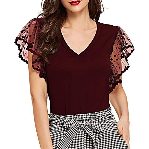 Aniywn Women New Short Sleeve Lace Tunic Shirt Casual Ruffle Dot Mesh Sleeve Loose Tops Blouse Tee Wine ()