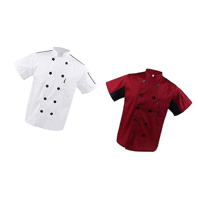 MagiDeal 2x Chaqueta de Unisex Rojo + Blanco Manga Corta Chef Uniformes Restaurante Hotel Cook Coat M - Blanco rojo, METRO: Amazon.es: Ropa y accesorios