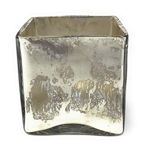 Serene Spaces Living 3″ Silver Glass Cube, Handmade Mercury Glass Finish & Vintage Style, Set of 6 Review