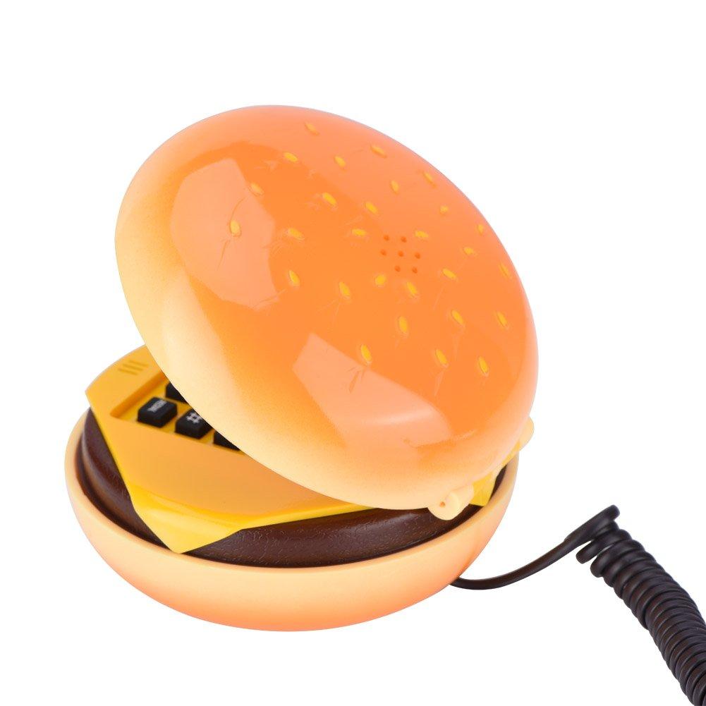 Landline Phone, ASHATA Novelty Cute Emulational Hamburger Telephone Wire Landline Phone for Home Decoration