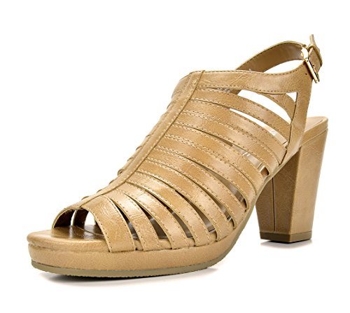 (TOETOS DIANE-02 New Women's Gladiator Strap Open Toes Mid Chunky Heels Platform Dress Sandals Nude Size 9)