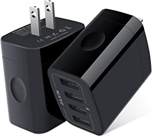 USB Wall Charger, 2-Pack Ailkin 4.8A 4-Port USB Plug Cube Portable Charging Box Wall Charger Plug, USB Charging Block, Adapter for Phone 11Pro Max/XR/XS MAX/8/7 Plus, Samsung Galaxy S5 S6 and More