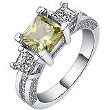 Gorgeous 18K White Gold Filled Sapphire Gemstone Ring Wedding Engagement Gift ERAWAN (9 #)