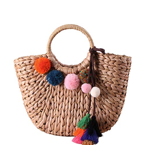 Natural Woven Straw - Woven Straw Beach Bag, Women\'s Chic Summer Straw Bag, Natural Woven Top Handle Straw Hobo Bag for Women Girl (Brown with Poms)