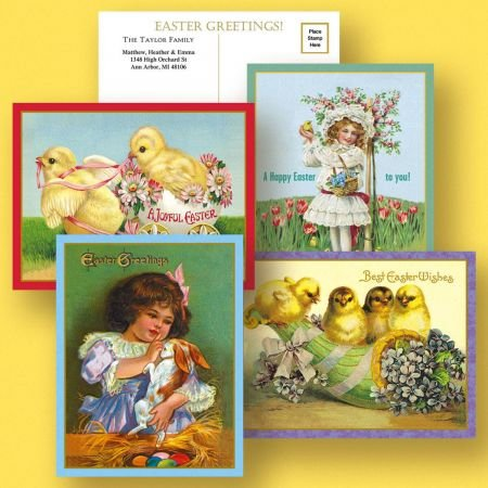 Victorian Personalized Easter Postcards - Set of 24 5-1/4
