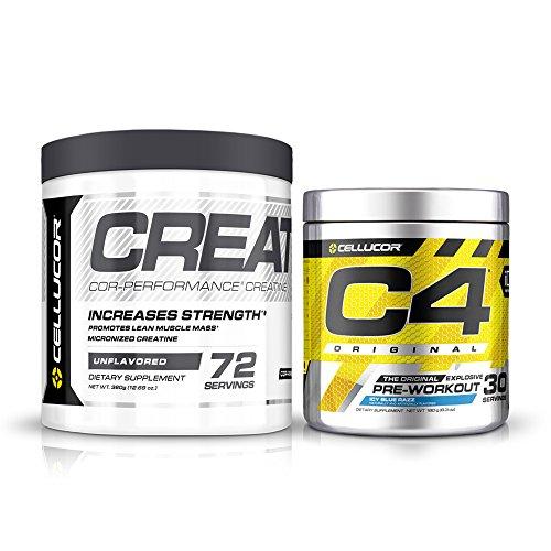 Cellucor Pre Workout & Creatine Bundle,  C4 Original Pre Workout Powder, Icy Blue Razz, 30 Servings +  Cor Performance Creatine Powder, 72 Servings