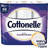 Cottonelle Ultra ComfortCare Toilet Paper, Soft Biodegradable Bath Tissue, Septic-Safe, 36 Family+ Rolls