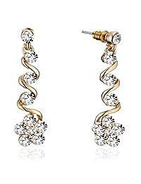 Gemini Women's Jewellery Long Flower Dangle Drop Stud Earrings for Ladies Gifts Idea Gm140 , Size: 43mm , Color: 18K Yellow Gold