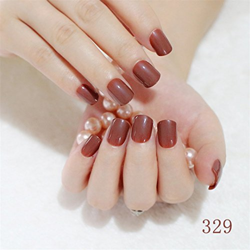 Shine Light Chocolate Color Brown 24 Pcs Sweet Candy Short Purple Red Artificial False Fake Nails Full Wrapped Tips 329 ()