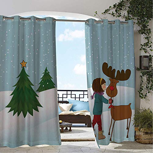 (Linhomedecor Gazebo Waterproof Curtains Christmas Cartoon Style Girl Kissing Cute Reindeer Snowy Winter Woods Pine Trees Star Multicolor Porch Grommet Free Curtain 72 by 96 inch)