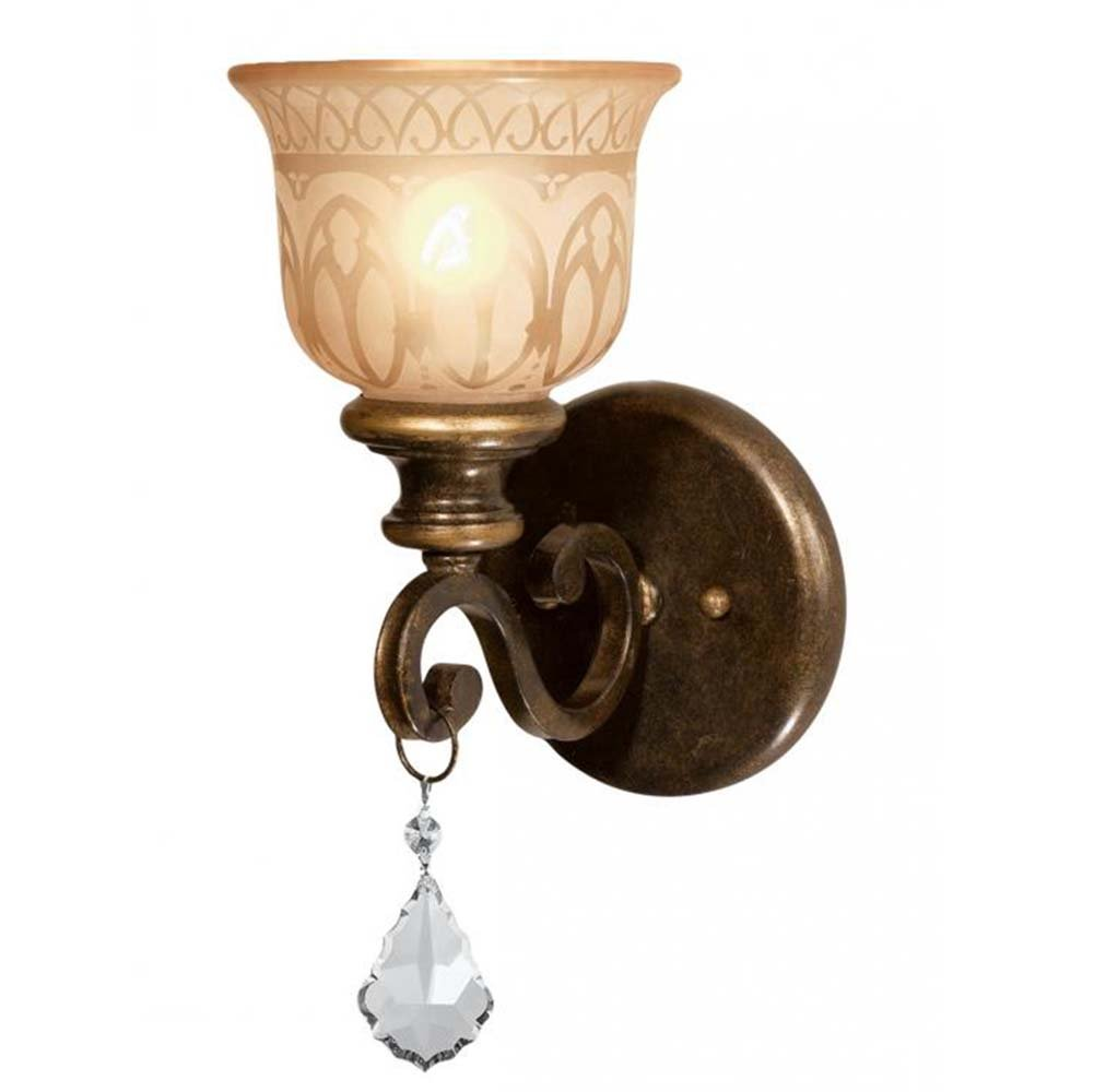 Crystorama 7501-BU-CL-S Crystal Accents One Light Wall Sconce from Norwalk collection in Bronze/Darkfinish, 8.50 inches by Crystorama Lighting