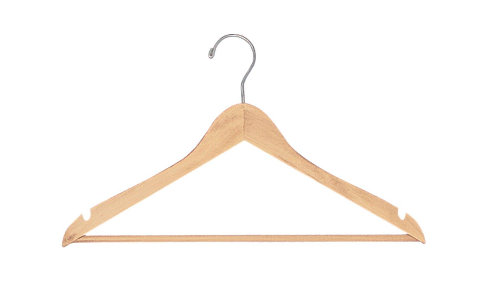SSWBasics Natural Wood Hangers (All Purpose 17'') - Case of 50