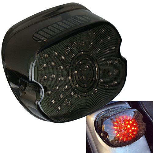 OVOTOR Smoked Harley LED Tail Light Lay Down Tail Lamp with Braking Turn Signal for Sportster Dyna FXDL Electra Glides Road King (Gasket Tail Lamp Lens)