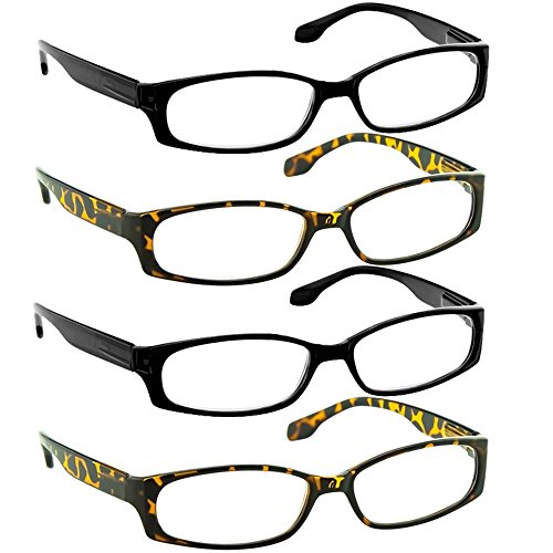 Reading Glasses 2.50 2 Black 2 Tortoise (4 Pack) F503 TruVision - Glasses Designer Deals
