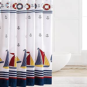 Eforcurtain Contemporary Nautical Boat Print Water-proof Shower Curtains Thicken Bathroom Curtain Mildew-proof Fabric Bath Curtain with Free Hooks, Multi-clolor/navy Blue, 72-inch By 78-inch