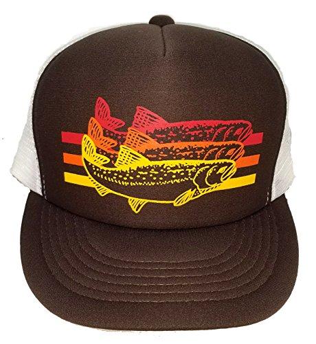 ThatsRad Trout Striped Snapback Mesh Trucker Hat Cap Fly Fishing (Brown)