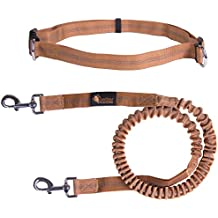 """Hands Free Dog Leash for Running, Walking, Hiking, Durable Dual-Handle Bungee Leash, Reflective Stitching, Adjustable Waist Belt Fits up to 42"""" waist, Up To 150 Lb Large Breeds By Petter"""