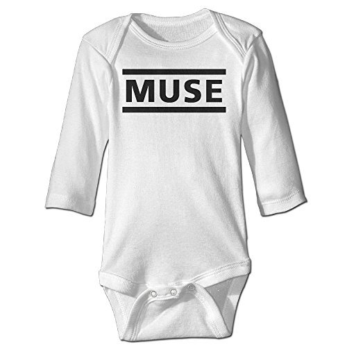 (Baby Kids 100% Cotton Long Sleeve Onesies Toddler Bodysuit Muse Rompers Playsuit Onesies White Size 6 M)