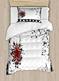 Ambesonne Movie Theater Twin Size Duvet Cover Set, Grungy Illustration of Film Strip with Ornamental Stars Cinematography, Decorative 2 Piece Bedding Set with 1 Pillow Sham, Black White Ruby