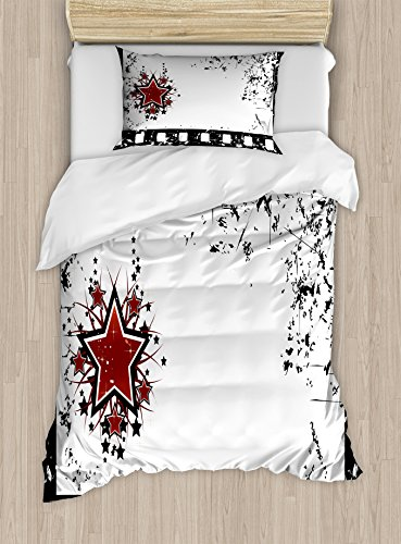 Ambesonne Movie Theater Twin Size Duvet Cover Set, Grungy Illustration of Film Strip with Ornamental Stars Cinematography, Decorative 2 Piece Bedding Set with 1 Pillow Sham, Black White Ruby by Ambesonne