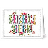 24 Note Cards - Merci Roses - Blank Cards - Aqua Blue Ocean Envelopes Included