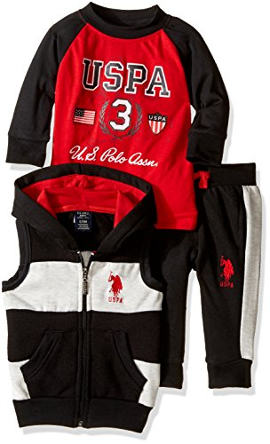 U.S. Polo Assn Boys' Hooded Vest, Pant, and Raglan T-Shirt, Red, 18M