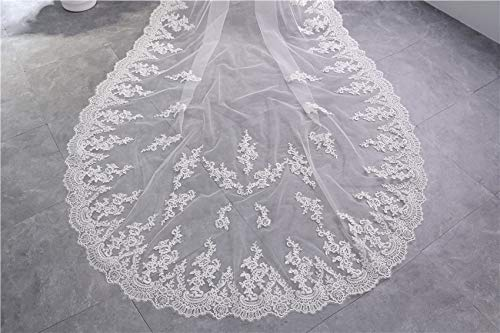 LoLa Ling White Ivory Cathedral Wedding Veils Long Lace Edge Bridal Veil with Comb Wedding Accessories Bride Mantilla Wedding Veil