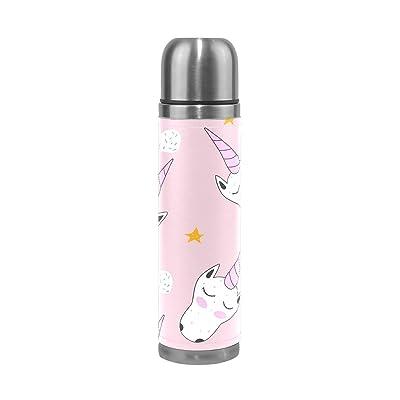 Ffy Go Travel Mug, Licorne Impression personnalisé Thermos en acier inoxydable LeakProof Thermos isotherme extérieur Cuir pour filles garçons Rose 500ml