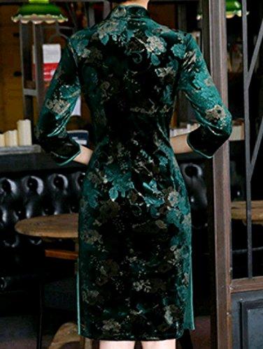Colletto Stare Pattern1 Cheongsam Coolred Donne Cinese Vestito Velluto Sera Delle Di Tagliato Del Del pZTxTC