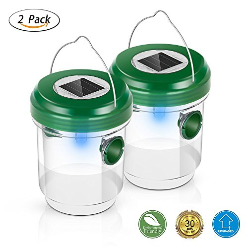 [2018 UPGRADED] Wasp Trap Catcher,Bee trap,Life Outdoor Solar Powered Fly Trap with Ultraviolet LED Light Waterproof for Trapping Bees, Hornets, Yellow Jackets, Bugs in Home Garden (2 (Hornets Light)