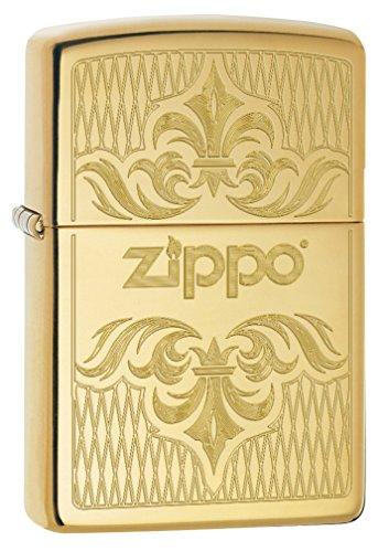 Zippo Lighter: Regal Zippo Design, Engraved - High Polish Brass 79098 (Zippo Luxury Lighter)