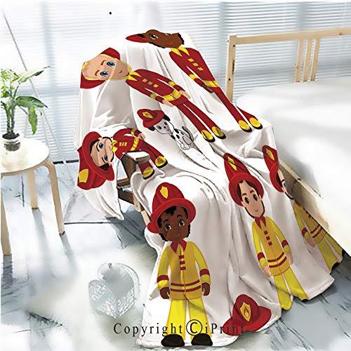 Printed Soft Blanket Premium Blanket,Fire Brigade Cute Boys Cartoon Vector Illustration 1 Microfiber Aqua Blanket for Couch Bed Living Room,W59.1 xH78.7