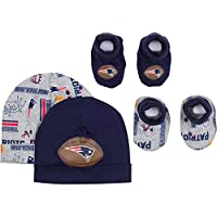 NFL New England Patriots 2 Baby Caps and 2 Booties Set, 0-6 Months, Navy/Gray