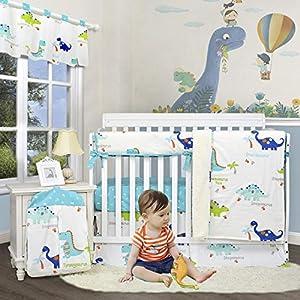 Brandream Crib Bedding Sets for Boys Dinosaur Nursery Bedding with Crib Rail Cover, Cotton Cradle Bedding for Newborn/Infant Modern Dinosaur Collection,6 Piece Baby Shower Gift