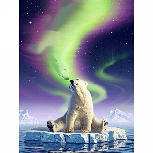 LICSE Diamond Mosaic Painting By Number Full Drill Square Embroidery Polar Bear Unfinish Decorative 12X16 inches by LICSE