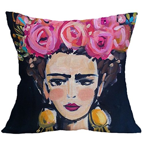 Joyi 4 Pack Frida Kahlo Self-Portrait Cotton Linen Throw Pillow Case Car Cushion Cover 18x18,Pattern 5