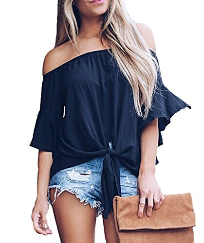 Women Sexy Solid Off The Shoulder Tops Short Sleeve Summer Chiffon Blouse Tunic -