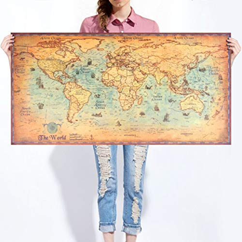 - Large Vintage World Map Kraft Paper Paint Retro Original Personalised Sailing Map Wall Poster Living Room Art Crafts Maps Bar Cafe Pub Home Decor Gift (39inchx19inch / 100cmx50cm)