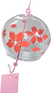 Japanese Edo Furin Glass Windchime Birthday Valentine's Day Gift Home Spa Kitchen Office Decor Red Sakura