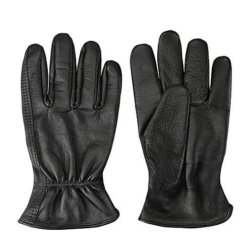 Men's Full-Grain Leather Driver Work Gloves, Black Cowhide Leather Shooting Gloves for industrial production/Riding/Driving/Gardening/Farm Hunting Gloves - Extremely Soft and Sweat-absorbent ()