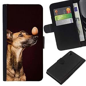 Vizsla Loughi Mutt Black Dog Egg - la tarjeta de Crédito Slots PU Funda de cuero Monedero caso cubierta de piel Sony Xperia Z2 D6502